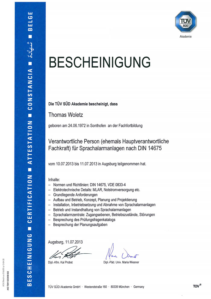 Zertifizierung Verantwortliche Person für Sprachalarmanlagen nach DIN 14675 - Thomas Woletz