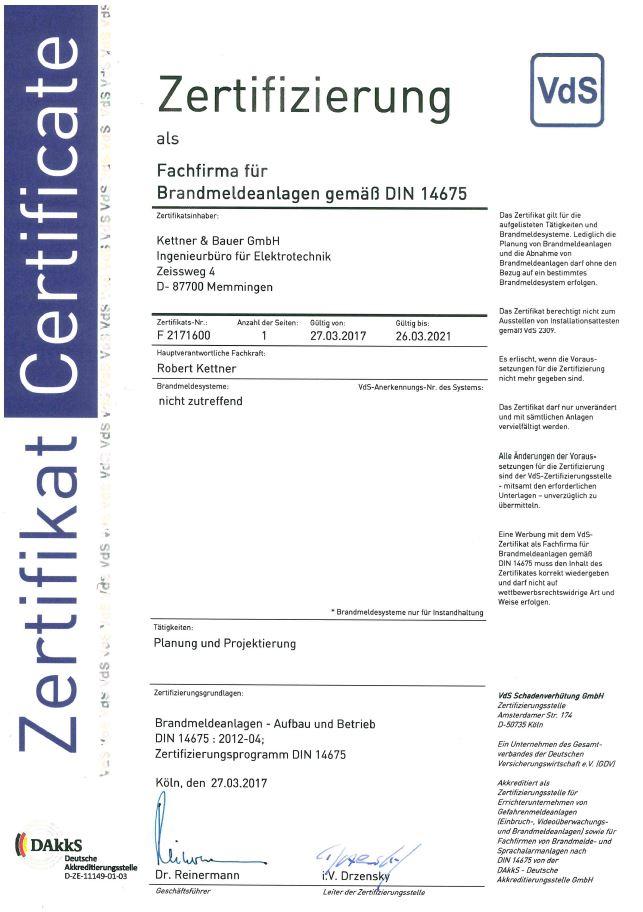 Fachfirma für Brandmeldeanlagen nach DIN 14675