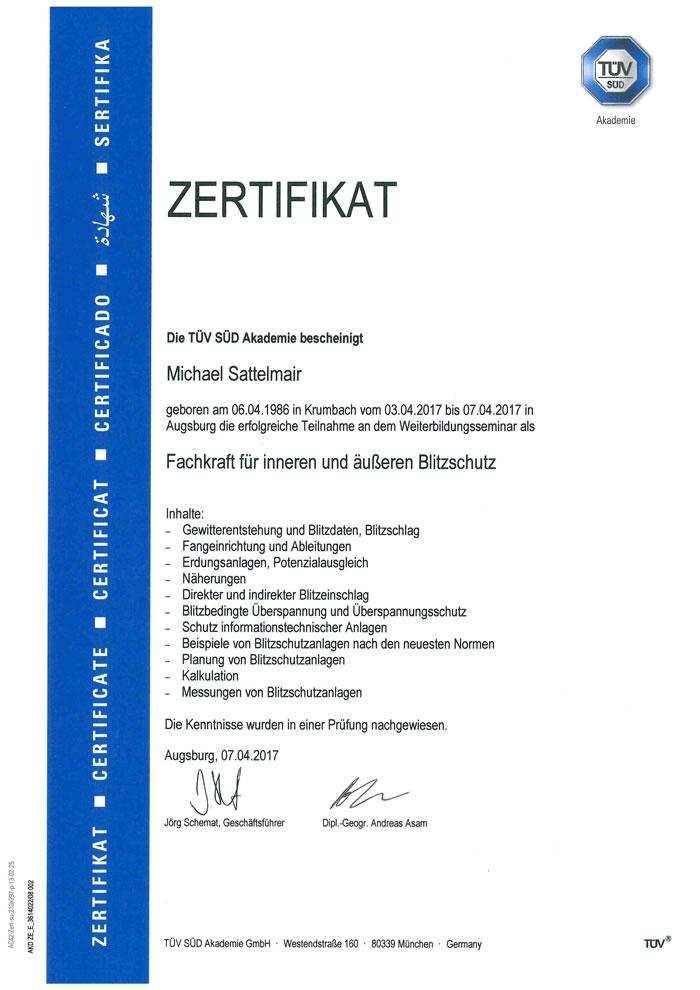 Zertifikat Fachkraft für Blitzschutz
