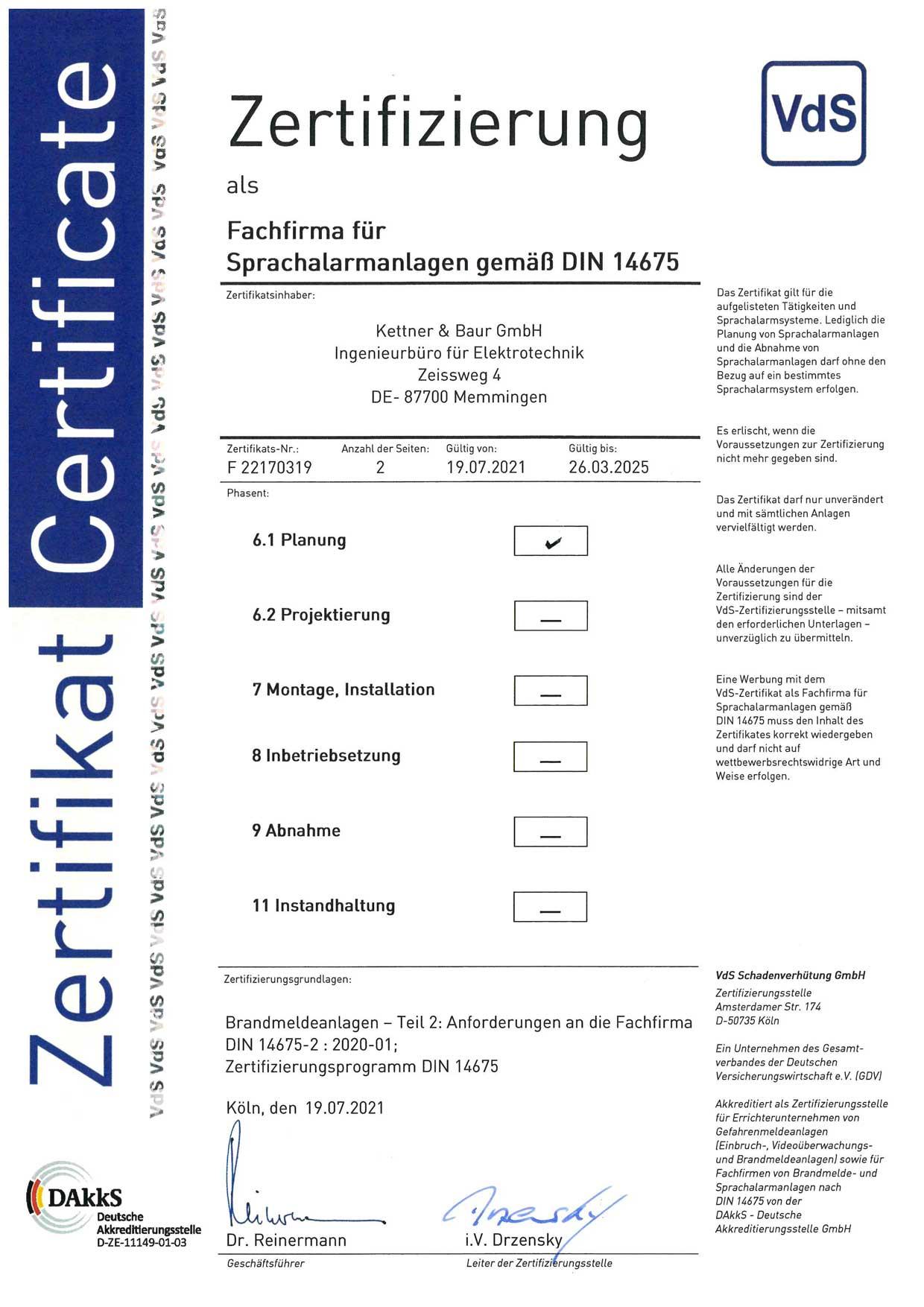 Zertifikat Sprachmeldeanlagen